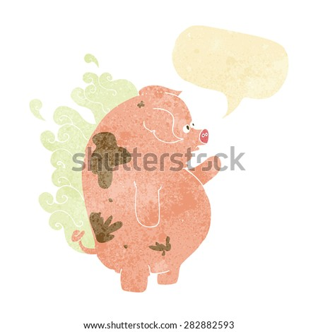 cartoon fat smelly pig with speech bubble - stock vector