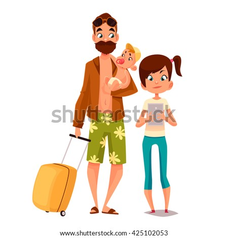 Cartoon father and his children, vector illustration comic isolated on white background  father and daughter walk together in summer, daughter is writing in phone, father in shorts and a beard, father - stock vector