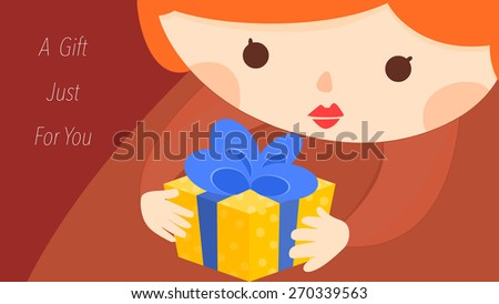 Cartoon female character holding a gift illustration. Holidays and special events e-card template.A present specially just for you concept. Cute girl with fashion red lips make up. - stock vector