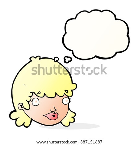 cartoon female face with surprised expression with thought bubble - stock vector