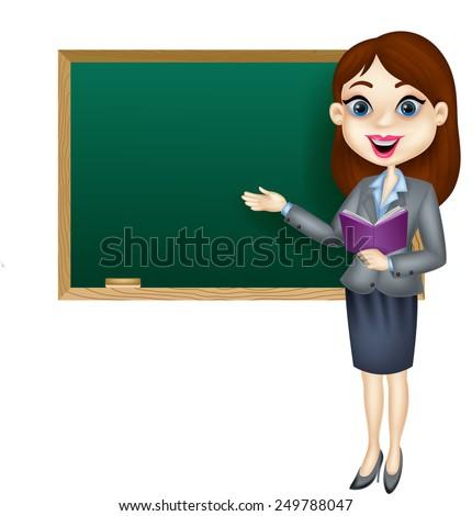 Cartoon female teacher standing next to a blackboard - stock vector