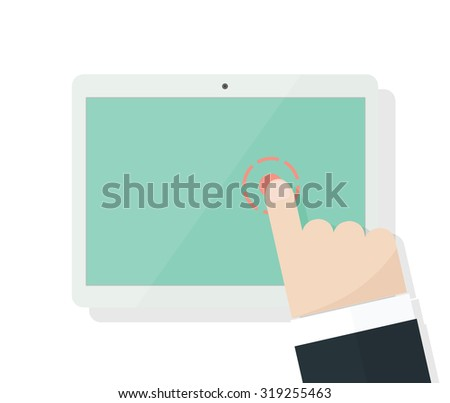 Cartoon finger points to the screen - stock vector