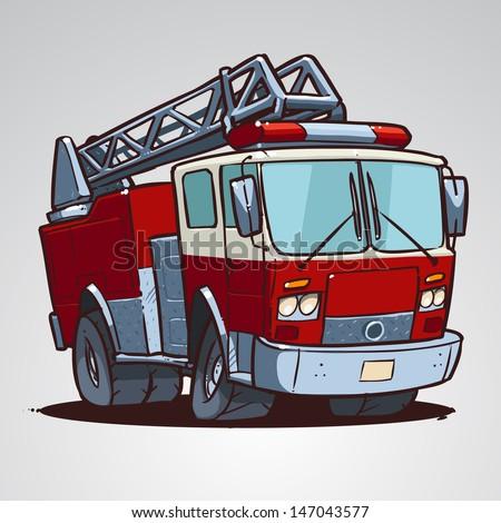 Cartoon fire truck isolated - stock vector