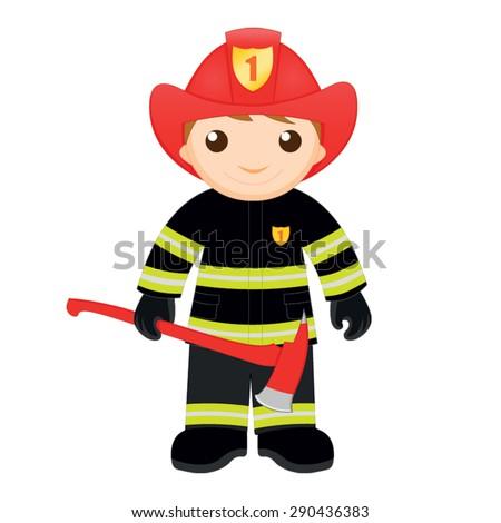 Cartoon fireman with an axe - stock vector