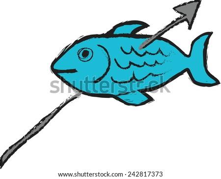 cartoon fish and harpoon - stock vector