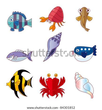 cartoon fish icons - stock vector