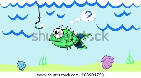 Cartoon fish looking at the bait - stock vector