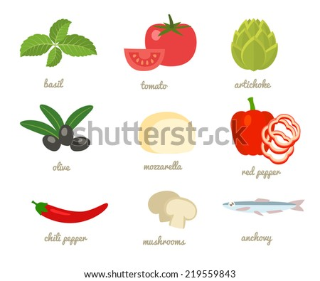 Cartoon flat style. Food icons set, vector illustration - stock vector