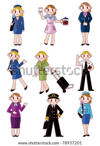cartoon flight attendant/pilot icon - stock vector