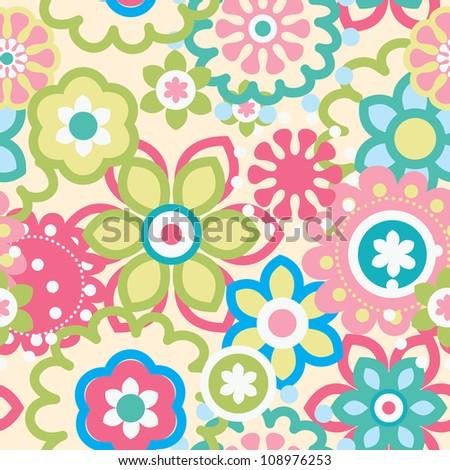 Cartoon floral seamless pattern  - stock vector