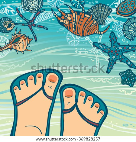 Cartoon foot in blue flip-flops and seashells with starfish on a beach. Summer travel vector illustration. - stock vector