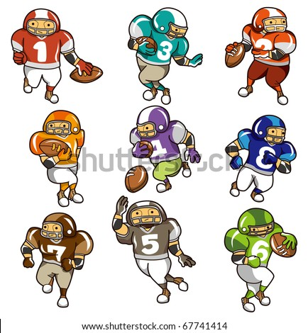 cartoon football player icon - stock vector