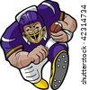 Cartoon football running back. - stock vector