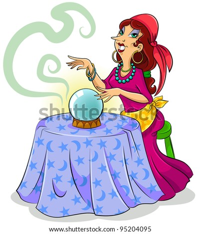 cartoon fortune teller with her crystal ball - stock vector