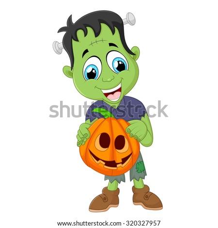 Cartoon Frankenstein kid - stock vector