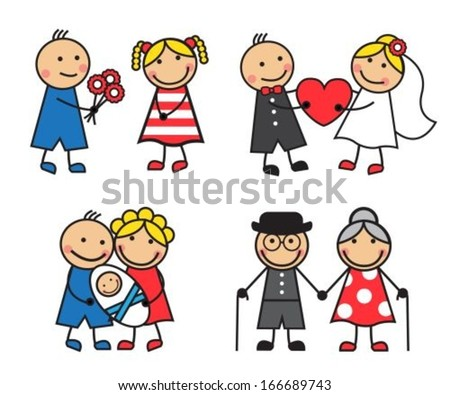 Cartoon friendly and happy family on a date, for the wedding, after the child's birth, and aging  - stock vector