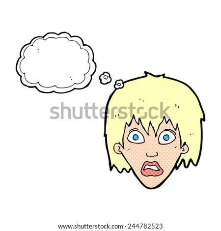 cartoon frightened woman with thought bubble - stock vector