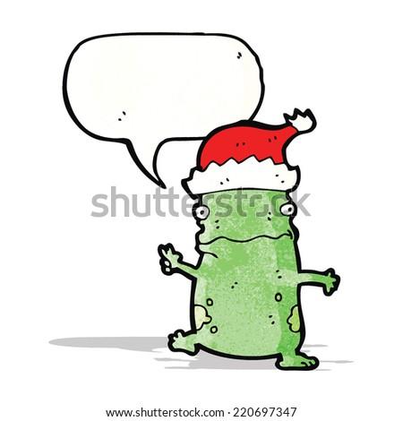 cartoon frog in christmas hat - stock vector