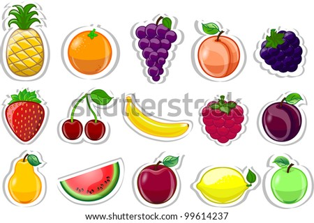 Cartoon fruits - stock vector