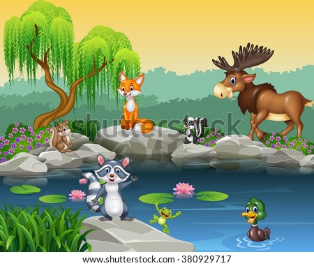 Cartoon funny animal collection on the beautiful nature background - stock vector