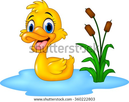 Cartoon funny baby duck floats on water - stock vector
