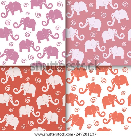 Cartoon funny childish elephant seamless pattern set. Cute backgrounds collection, vector illustration, red pink and white - stock vector
