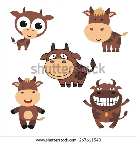 cartoon funny cows - vector set - stock vector