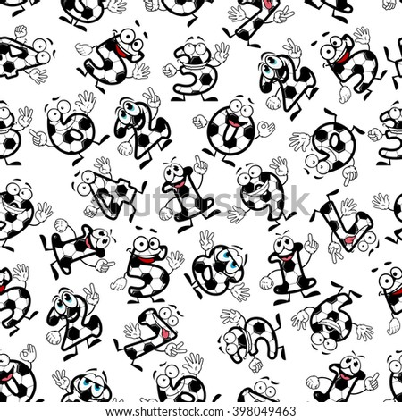 Cartoon funny football or soccer numbers seamless pattern of smiling digits. For sporting, education theme or interior design - stock vector