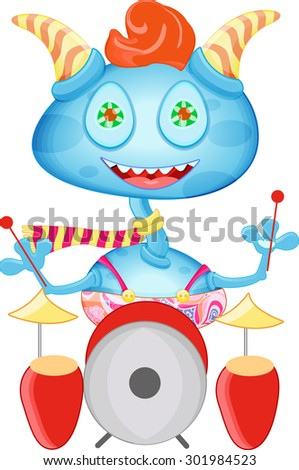 Cartoon funny monster, colorful alien. Monster playing on drums. - stock vector