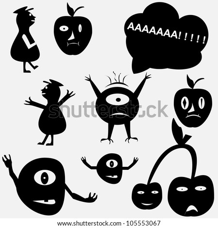 Cartoon funny monsters silhouettes - stock vector