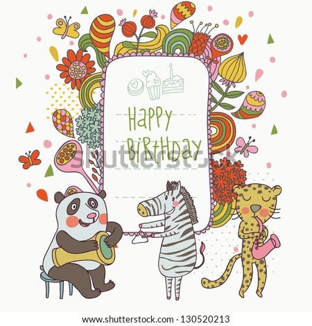 Cartoon funny panda, zebra and leopard congratulating happy birthday. Nice holiday card in vector - stock vector