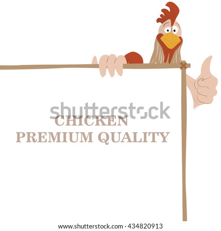 Cartoon funny rooster wit chicken premium quality banner, showing thump up - stock vector