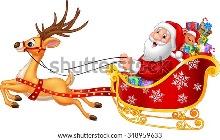 Cartoon funny Santa in his Christmas sled being pulled by reindeer - stock vector