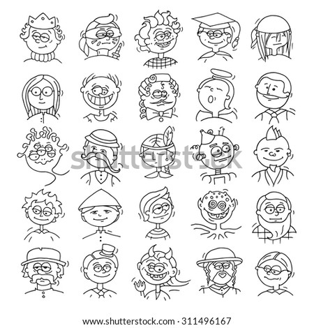 Cartoon funny user avatars in trendy hand drawn doodle style. Set of men faces with different emotions, professions, hobby. Cute vector illustration isolated on white. - stock vector