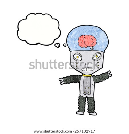 cartoon future robot with thought bubble - stock vector