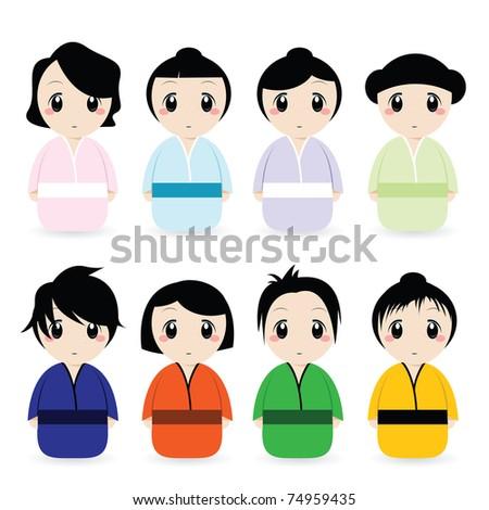 cartoon geisha set - stock vector