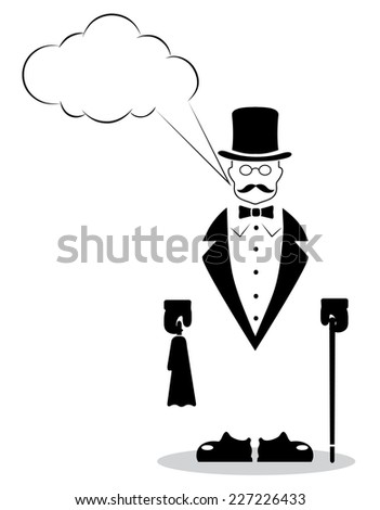 cartoon gentleman on a white background - stock vector