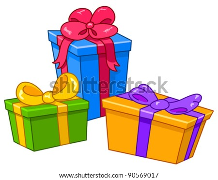 Cartoon gifts. All gifts are on separate layers - stock vector