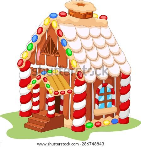 Cartoon gingerbread house  - stock vector