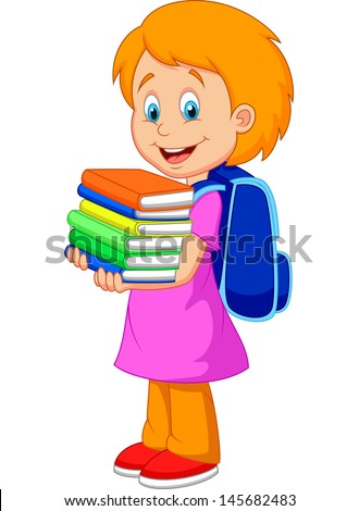 Cartoon girl bring pile of books - stock vector