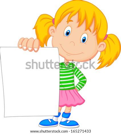Cartoon girl holding blank paper - stock vector