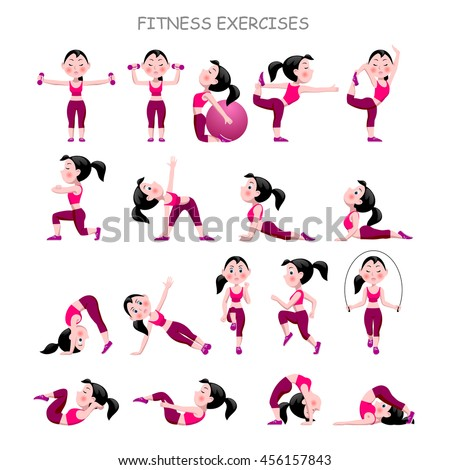 Cartoon girl in pink suit doing fitness exercises isolated on white background. Vector illustration. - stock vector