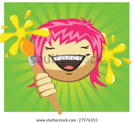 Cartoon girl's fase with brush, vector - stock vector