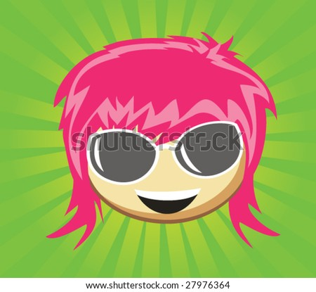 Cartoon girl's fase with glasses - stock vector