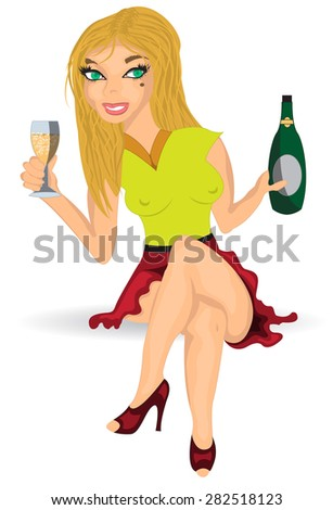 cartoon girl with champagne - stock vector