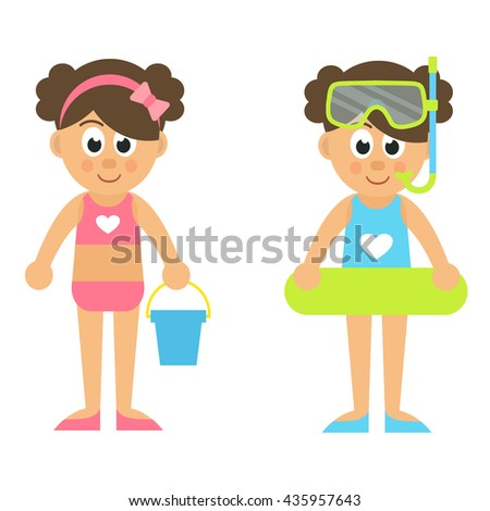 cartoon girl with rubber ring and diving mask and bucket set - stock vector