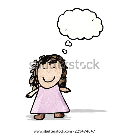cartoon girl with thought bubble - stock vector