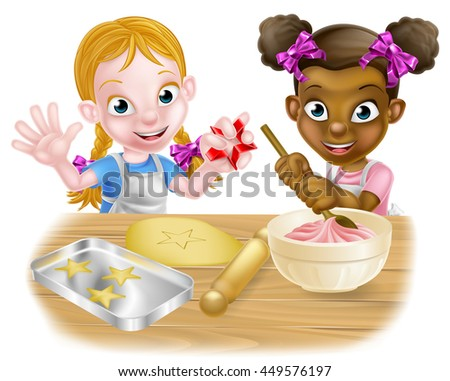 Cartoon girls, one black one white, dressed as chefs or bakers baking cakes and cookies - stock vector
