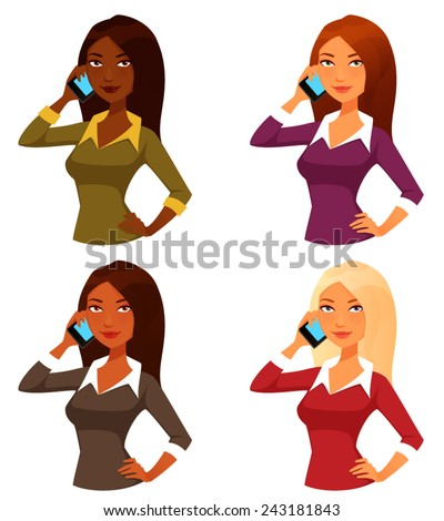 cartoon girls with mobile phone - stock vector