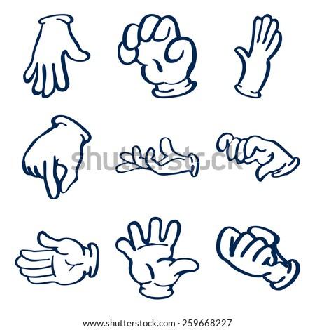 Cartoon gloved hands. Vector clip art illustration - stock vector